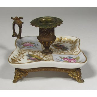 Late 19th Century Porcelain and Hand Painted Brass Candle Holder Preview