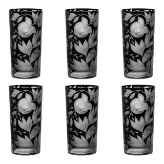 Verdure Highball Glasses, Set of 6, Black For Sale