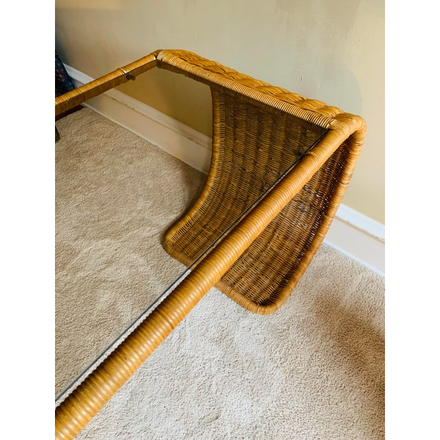 Camel Vintage Rattan Scroll Console Table For Sale - Image 8 of 10