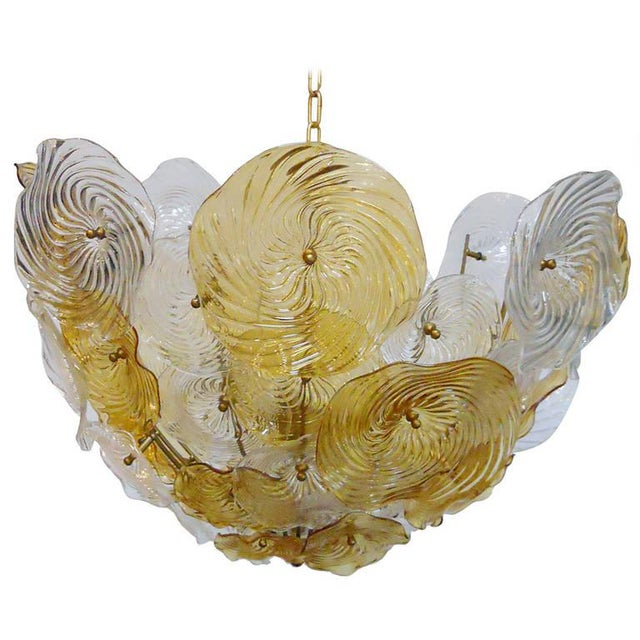 Mid 20th Century Italian Murano Glass Discs Chandelier For Sale - Image 5 of 5