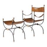 Image of Jacques Adnet safari chair and ottoman set - 2 pieces For Sale