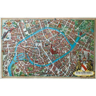 Strasbourg Map, Illustrated, 1950 Rare, Collector's Item For Sale