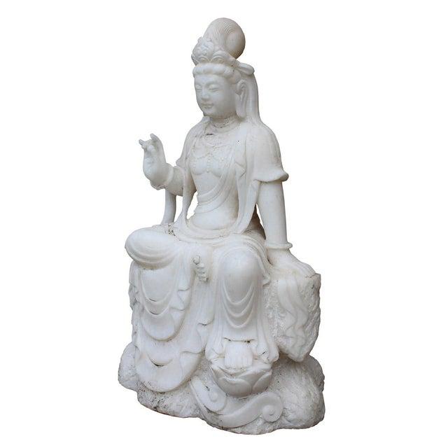 Asian Chinese Marble Stone Kwan Yin Tara Bodhisattva Statue For Sale - Image 3 of 5