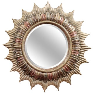 "Large 48"" Hollywood Regency Polychrome Sunburst Mirror"