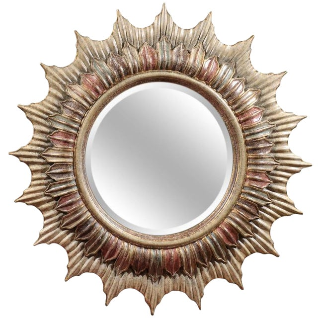 Large Polychrome Sunburst Mirror - Image 1 of 5