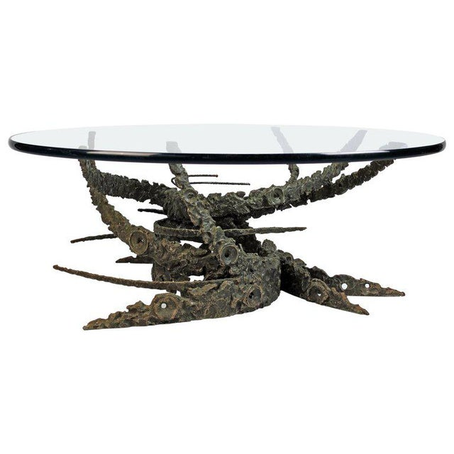 Cast and Welded Sculptural Bronze Round 'Swirl' Coffee Table by Daniel Gluck For Sale - Image 12 of 12