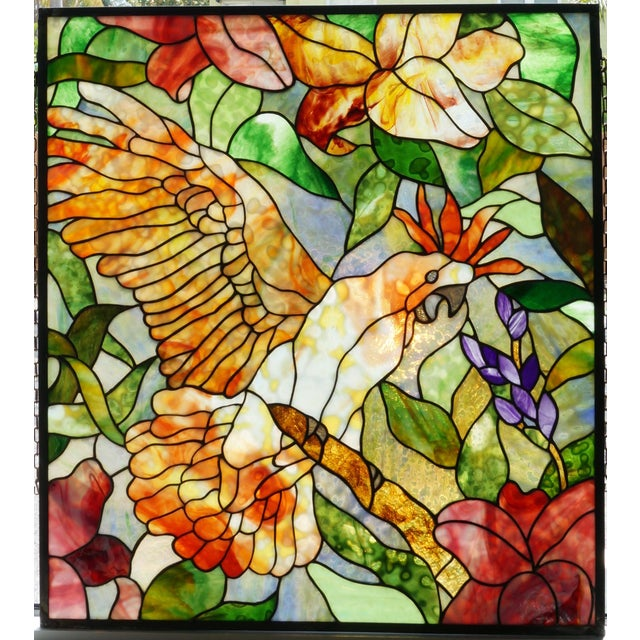 Vintage Abraham '94 Stained Glass Window Decoration of a Tropical Cockatoo For Sale - Image 13 of 13