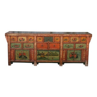 Oriental Hand Painted Long Cabinet For Sale