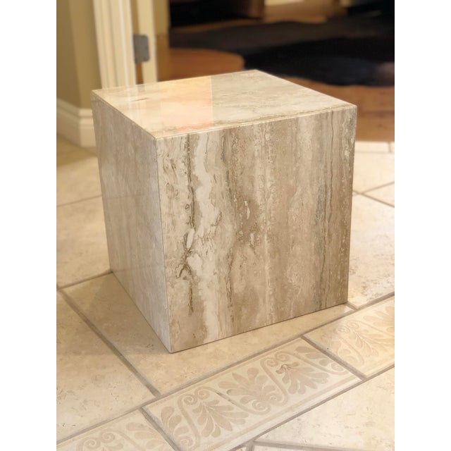 1970s 1970s Vintage Minimalist Italian Travertine Side Tables – A Pair For Sale - Image 5 of 7
