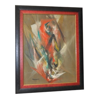 "Harriet Thorpe (1923-2012) ""Fire Bird"" Original Abstract Oil Painting C.1960d For Sale"