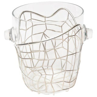Italian Pampaloni Sterling Silver & Glass Sculptural Ice or Champagne Bucket For Sale