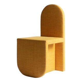 Contemporary U Chair Upholstered in Marigold Linen by Cuff Studio For Sale