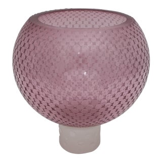 Modern Violet Art Glass Vase on Stand For Sale