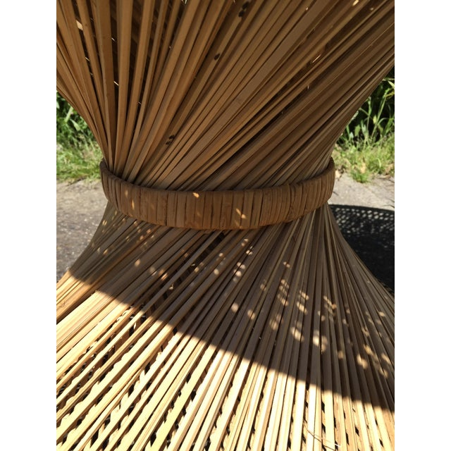 70s Boho Rattan Hourglass Dining Table For Sale - Image 4 of 8