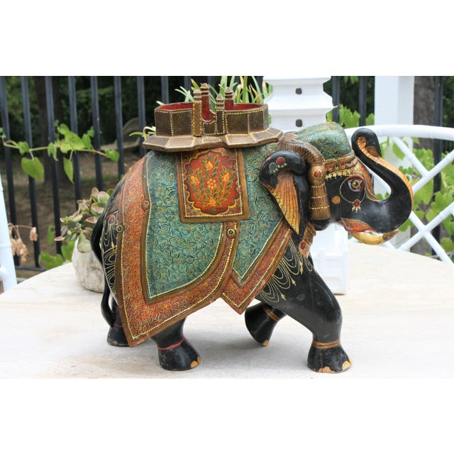 Antique Hand-Painted and Carved Wooden Elephant For Sale - Image 12 of 12
