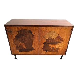 Vintage 1960s Marquetry Two Door Cabinet For Sale