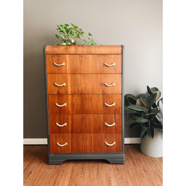 Waterfall tall dresser. Features five big drawers. Has been has been refinished in a darkest charcoal grey chalk paint,...