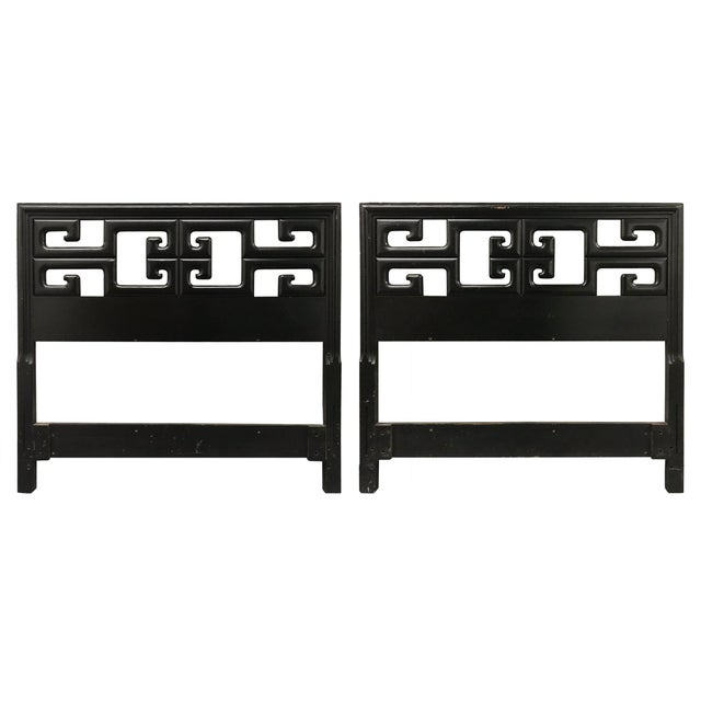 Vintage Chinoiserie Greek Key Twin Headboards - a Pair For Sale - Image 12 of 12
