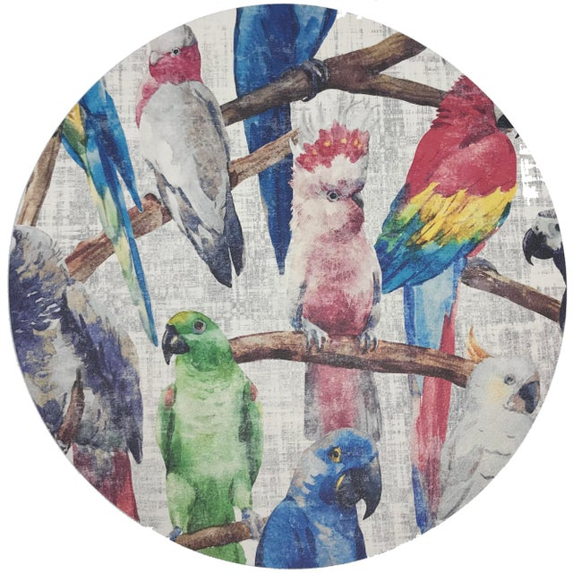 """Contemporary Nicolette Mayer Cockatoo Fantasia 16"""" Round Pebble Placemats, Set of 4 For Sale - Image 3 of 3"""