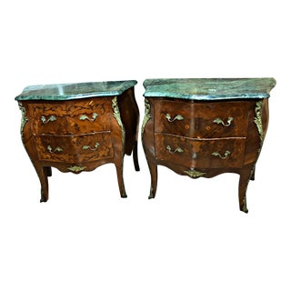 French Marquetry Inlay and Marble Top Commodes - a Pair For Sale