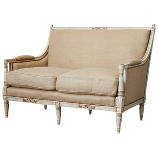 French Louis XVI Swedish Gustavian Style Painted Settee For Sale