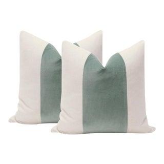 """22"""" Patina Green Velvet Panel & Linen Pillows - A Pair"""