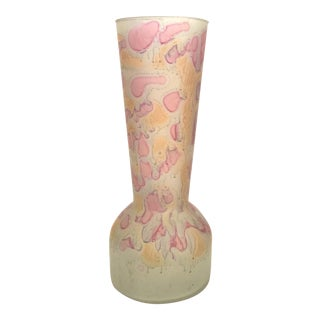 Vintage Hand Painted Abstract Glass Vase