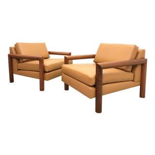 1960s Mid Century Modern Milo Baughman Style Club Chairs - a Pair