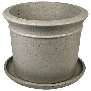 David Cressey Stone White Architectural Pottery Artisan Planter For Sale