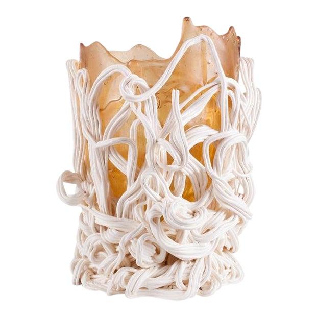 Gaetano Pesce Orange & White Resin Vase For Sale