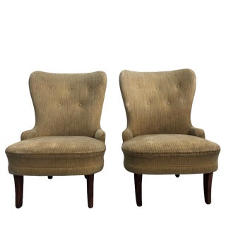 20th Century Swedish Upholstered Slipper Chairs - a Pair For Sale