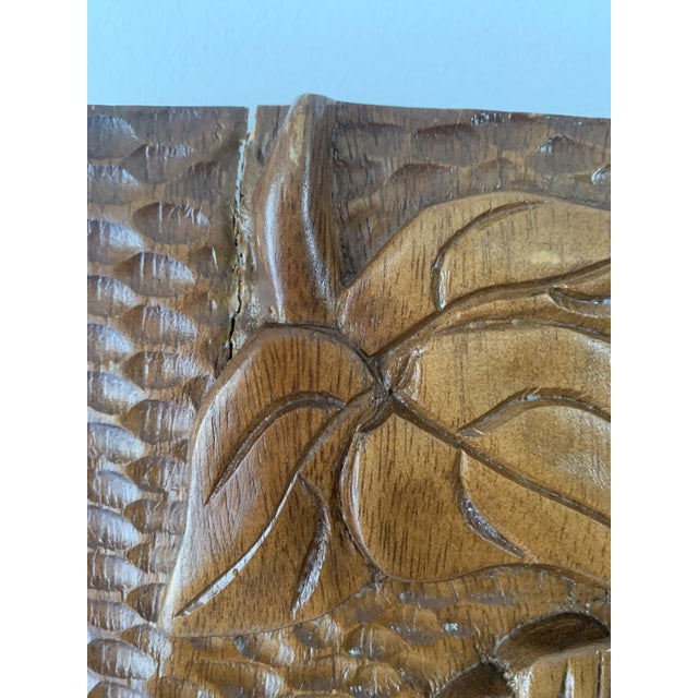 Mid Century Phillipine Hand Carved Wood Wall Plaque For Sale - Image 4 of 9