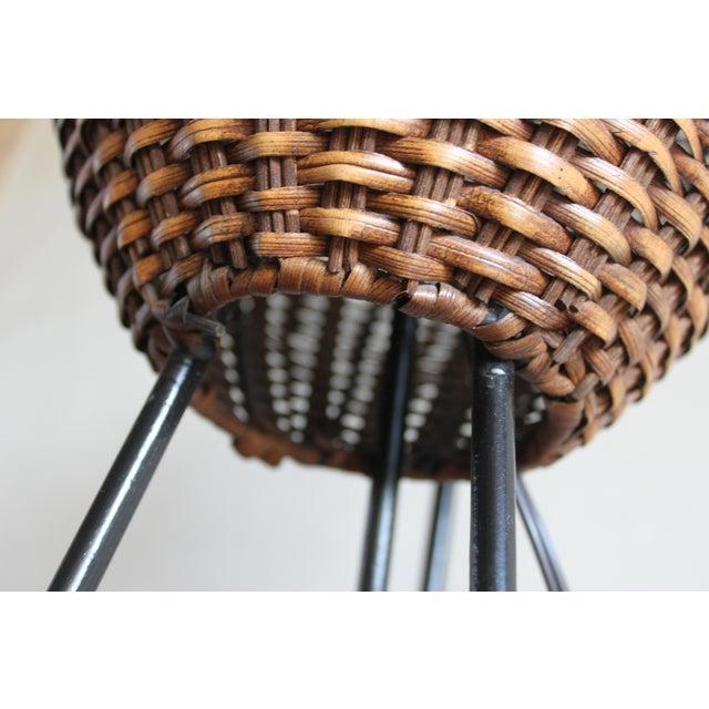Paul Mayen Mid-Century Rattan & Iron Hairpin Floor Lamp For Sale - Image 9 of 13