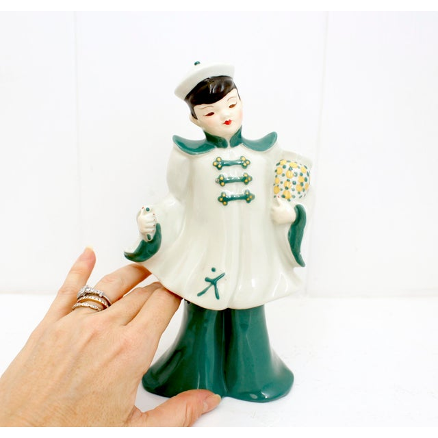 Ceramic Vintage Florence Ceramics Asian and & Woman Figurines - a Pair For Sale - Image 7 of 8