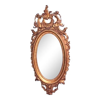 Antique French Rococo Gilt Oval Mirror For Sale