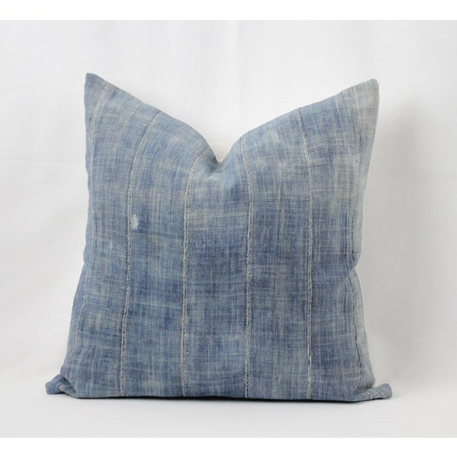 Vintage Blue Distressed Denim Pillow For Sale - Image 10 of 10