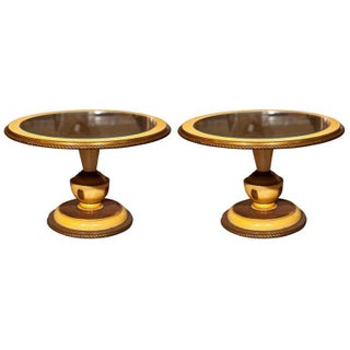 Circular Side Tables with Yellow Accents - A Pair For Sale