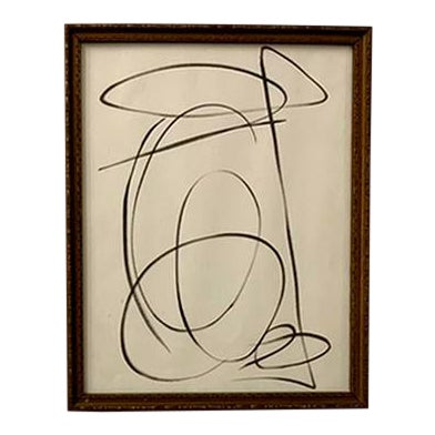 Contemporary Abstract Black and White Ink Drawing, Framed For Sale