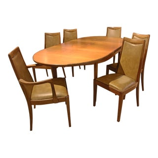 1960s Mid-Century Modern Dining Table & Chairs - 7 Pieces For Sale