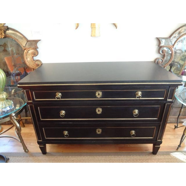 Bronze 18th Century French Louis XVI Ebonized Commode With Bronze Detail For Sale - Image 7 of 8