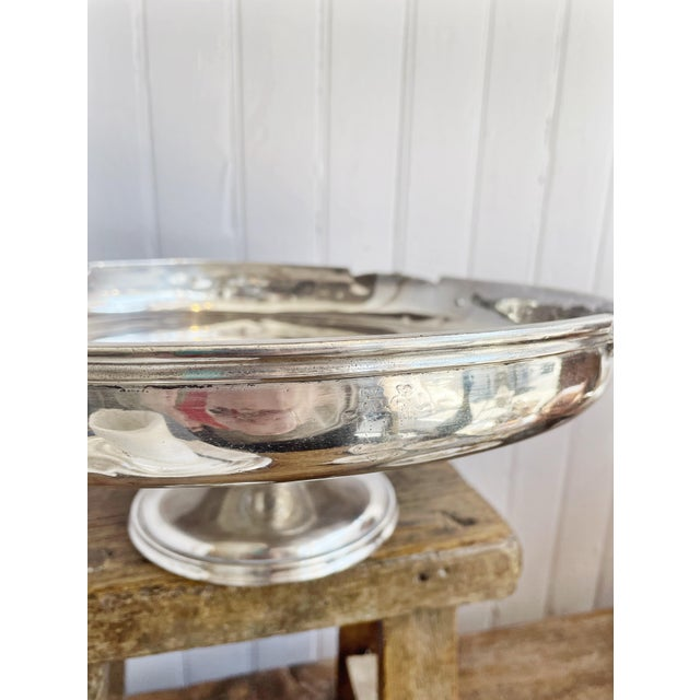 Metal Antique Silver Plated Dessert Stand From the Willard Hotel in Washington DC For Sale - Image 7 of 10