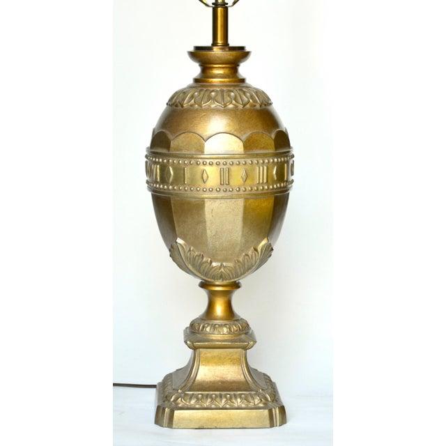 Hollywood Regency Gold Metal Egg Lamp For Sale - Image 4 of 5