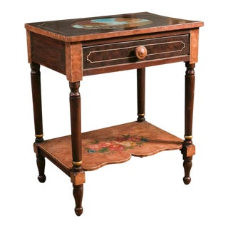 Bedside Table, circa 1915, Painted with Fruit Motif by American Folk Artist Lew Hudnall For Sale