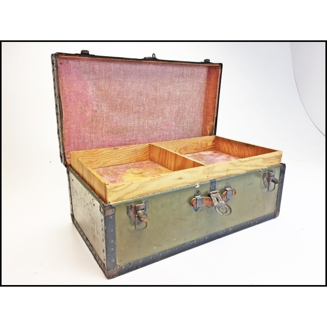 Vintage Industrial Green Us Military Foot Locker Trunk For Sale - Image 6 of 13