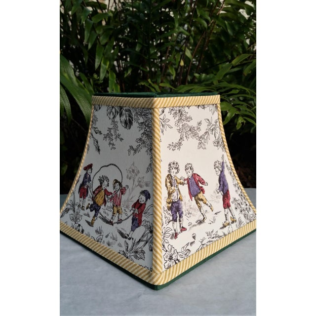 Not Yet Made - Made To Order Toile Lampshade French Country Square Bell For Sale - Image 5 of 11