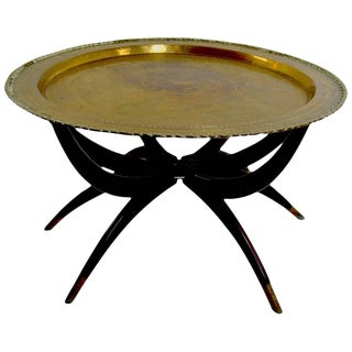 Moroccan Brass Tray Top Spider Leg Table For Sale