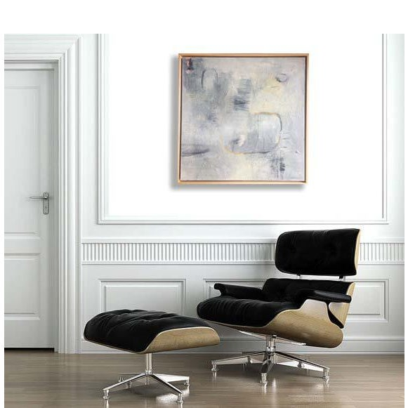 This modern neutral-toned painting has lots of marks and thick texture. It has a maple floater frame and signed on the...