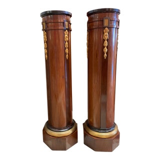 Early 20th Century Walnut French Neo-Classical Pedestals -a Pair For Sale