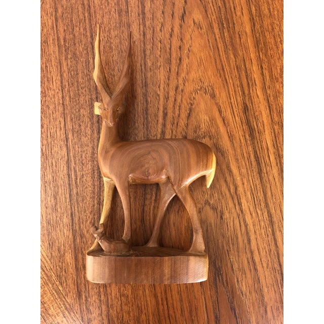 Brown Vintage Mid Century Modern Hand Carved Wood Antelope Sculpture For Sale - Image 8 of 8