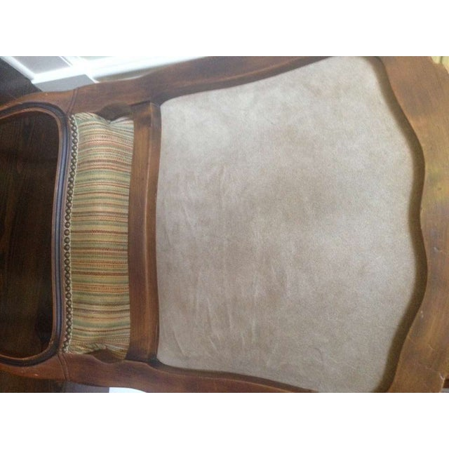 French Walnut Upholstered Armchairs - a Pair For Sale - Image 10 of 10